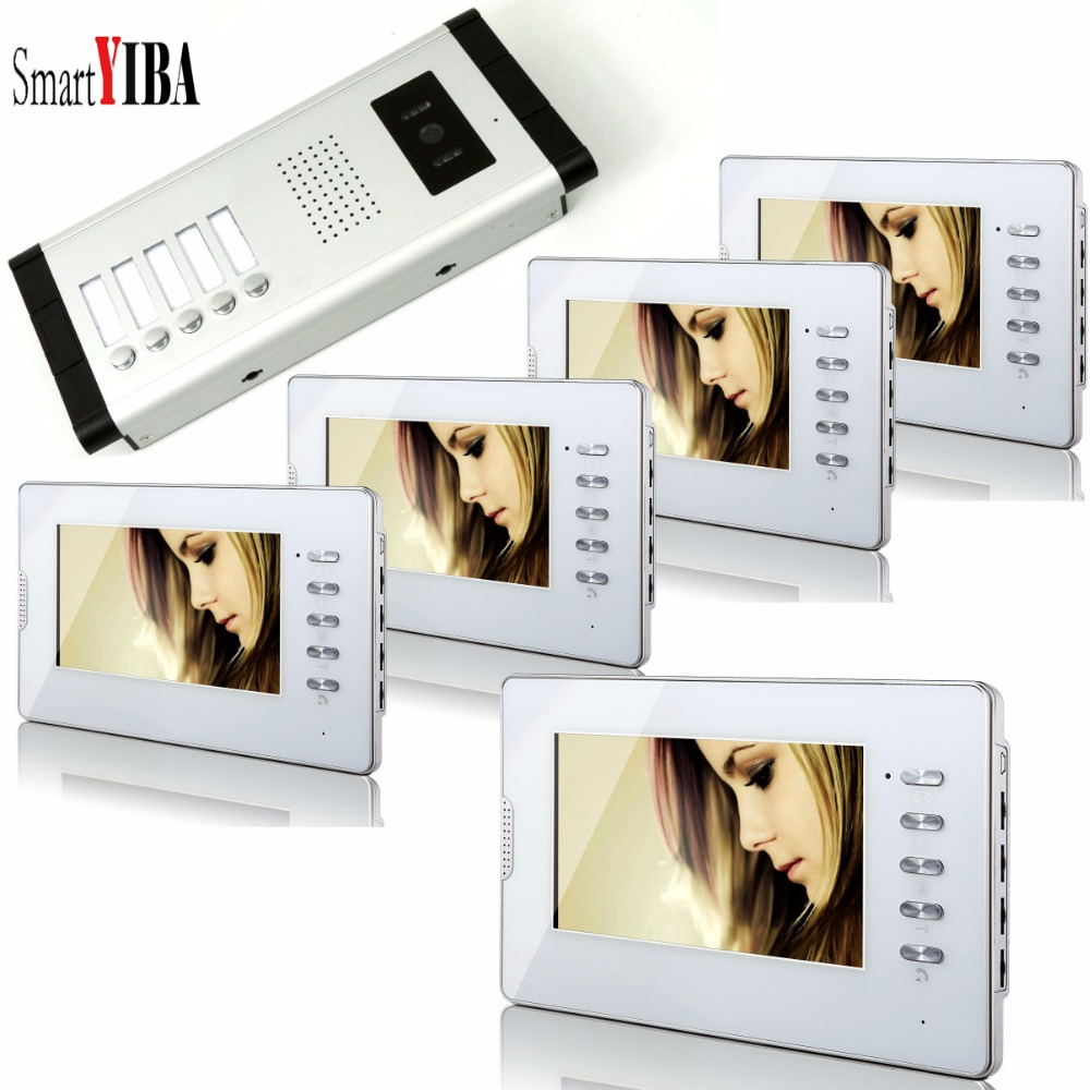 SmartYIBA 7 Color Lcd Video Intercom Doorphone With Camera With 5 Buttons For 5 Units Video Call for Apartment Security System