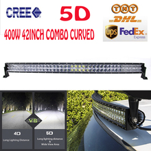 42Inch 400W Cree Chips 5D LED Light Bar Curved Bar-type Combo External Car Lights Off-road Driving Lamp ATV For Jeep Hummer VW