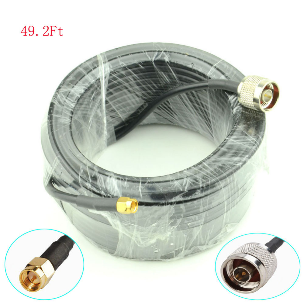 15-Meter(49.2 Ft) Low Loss SMA male to N Male Extension RG58 Coaxial Cable Connector