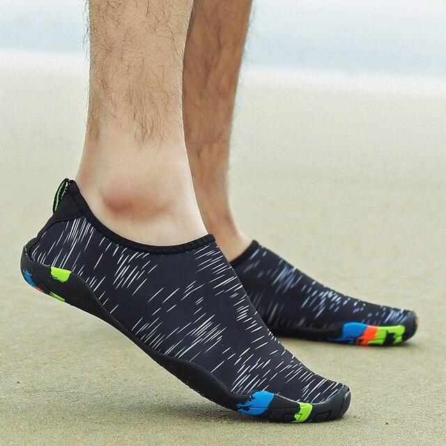 814287abc8360f 2019 Hot Sale Aqua Shoes Men Unisex Summer Beach Wading Shoes Swim On Surf  Drain hole