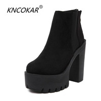 KNCOKAR Fashion Black Ankle Boots For Women Thick Heels New Round Head Zipper Elastic Martin Boots
