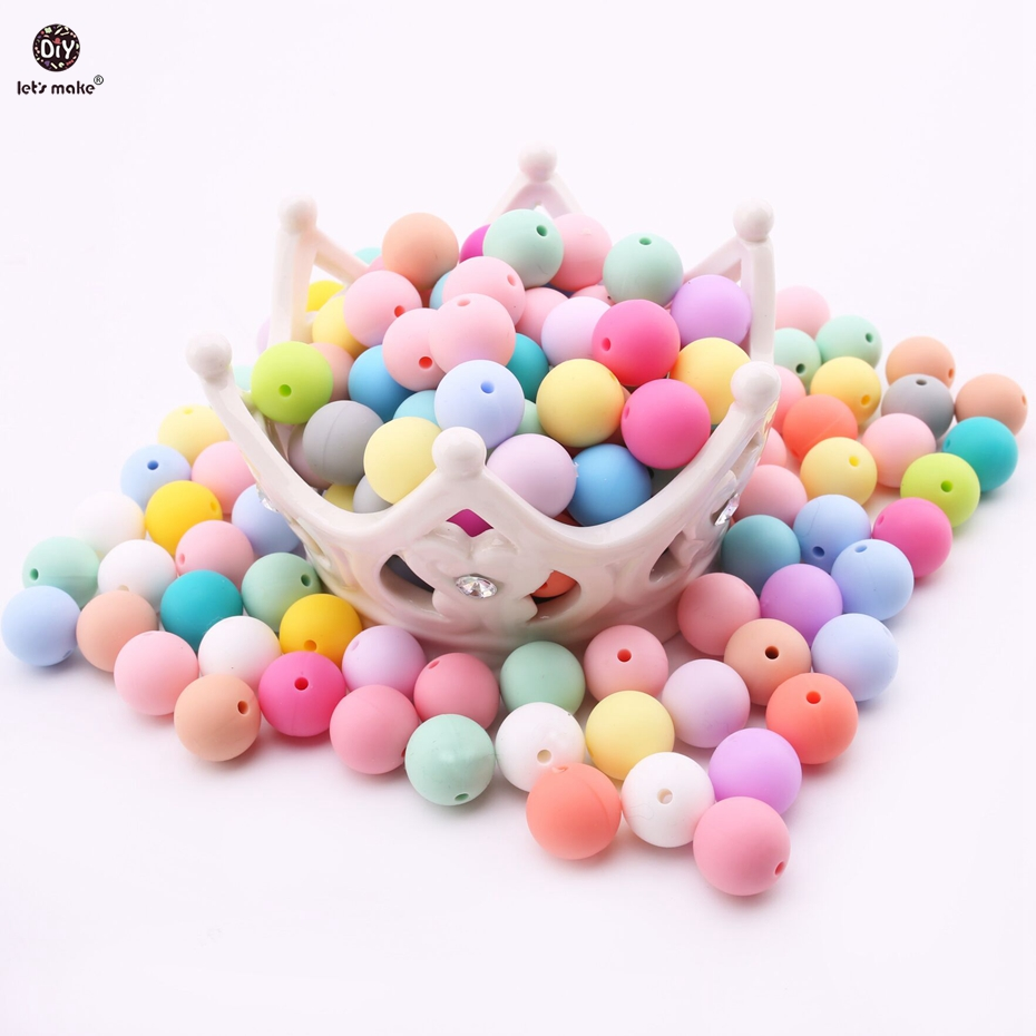 Lets make 15mm silicone beads round loose jewelry baby teething balls(50pcs)Food Grade Sensory infant teether DIY necklace