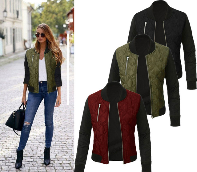 2016 autumn winter Casual bomber jacket women basic coats zipper Quilted coat jaqueta feminina chaquetas mujer outerwear
