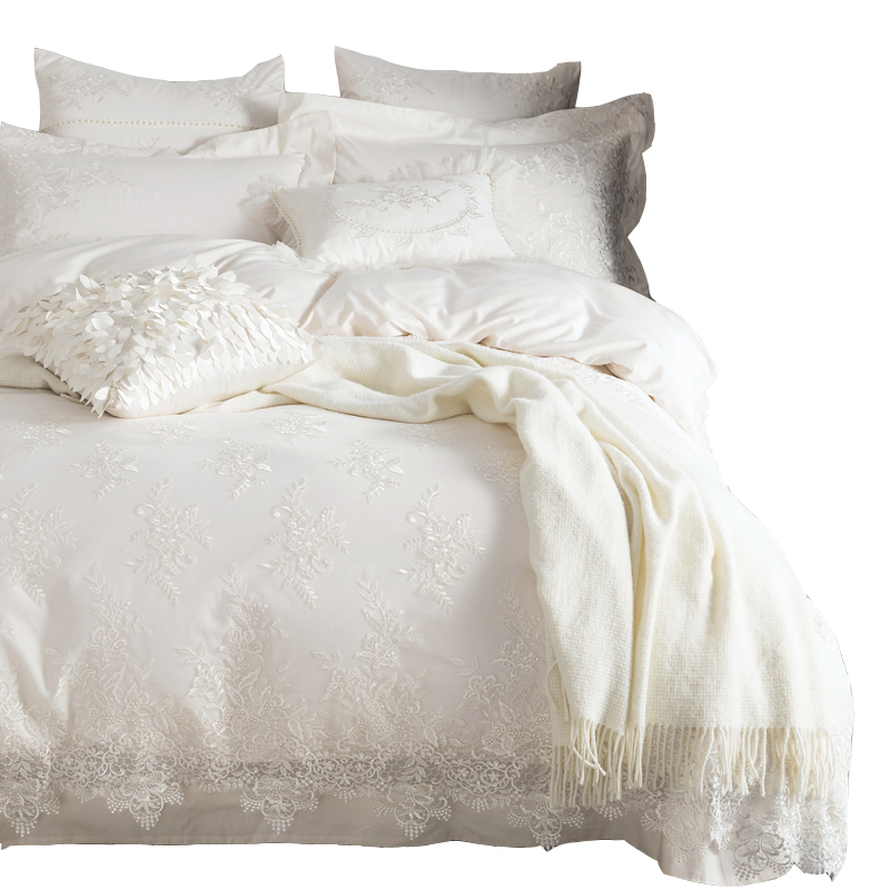 100 Egyptian Cotton Bedding Set White Luxury Embroidered