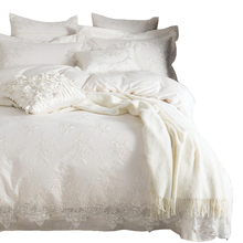 100% Egyptian cotton Bedding set White luxury Embroidered duvet cover set King/Queen bed sheet/bedsheet bedline funda nordica