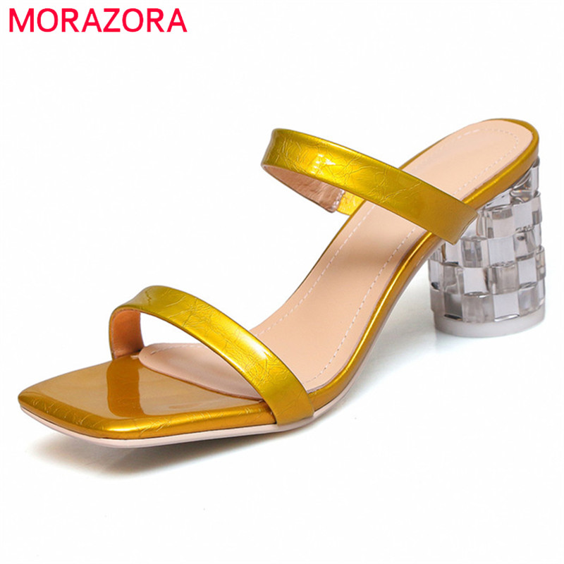 MORAZORA 2019 Handmade genuine leather sandals women shoes simple summer crystal heels shoes party prom shoes woman slipperMORAZORA 2019 Handmade genuine leather sandals women shoes simple summer crystal heels shoes party prom shoes woman slipper