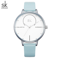 SK Watches 2017 New Rose Red Leather Wristwatches Analog Clock Women Fashion Quart Watches Lady Dress
