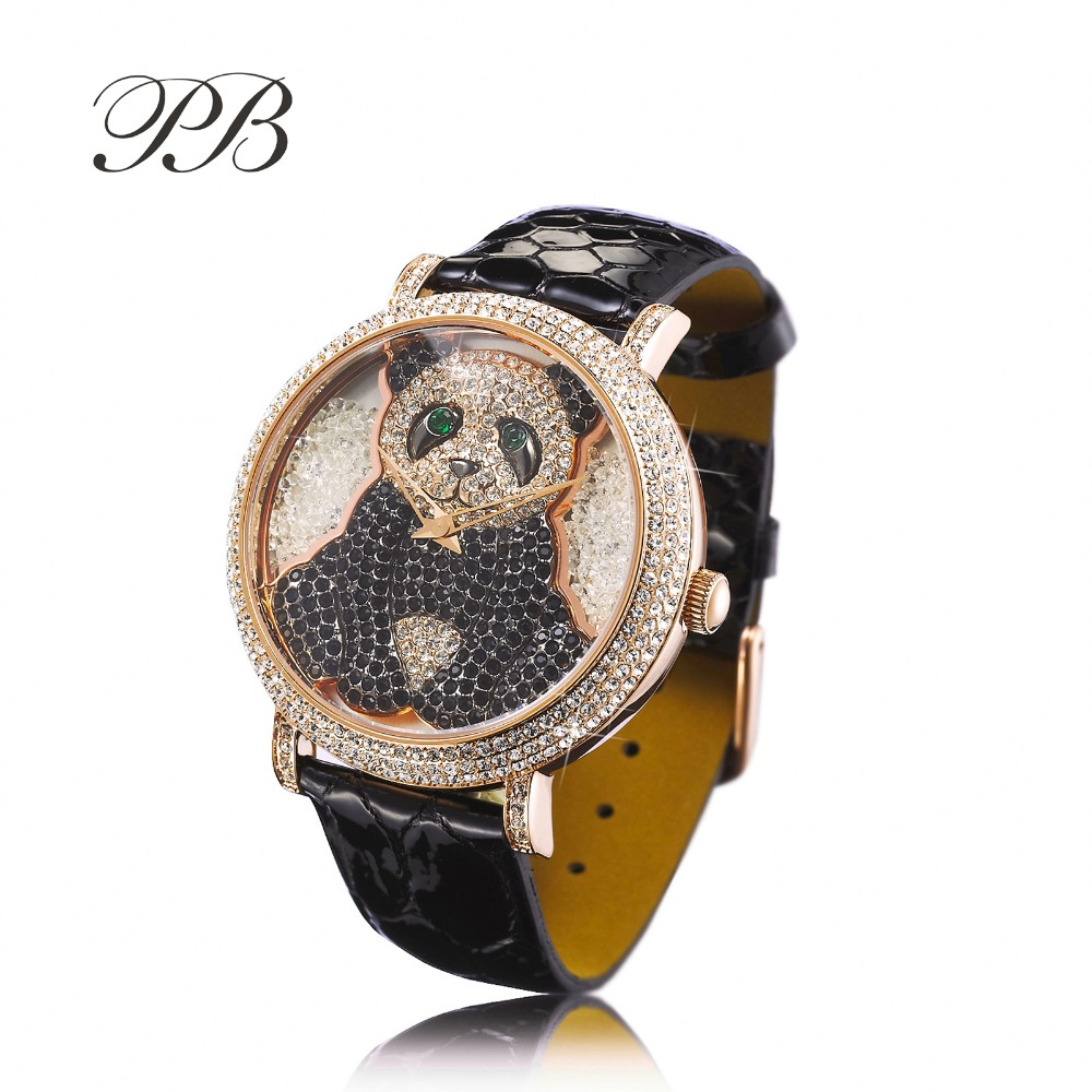Hot Sale Famous PB Brand Cartoon Panda Luxury Wrist Watch Women Austrian Crystal Watch Lady Sapphire Rhinestone Wrist Watch new arrival grace bs brand full diamond luxury bracelet watch hot sale women 14k austrian crystals watch lady rhinestone bangle