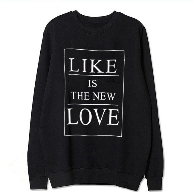 New European and American style letter print round neck long sleeve women