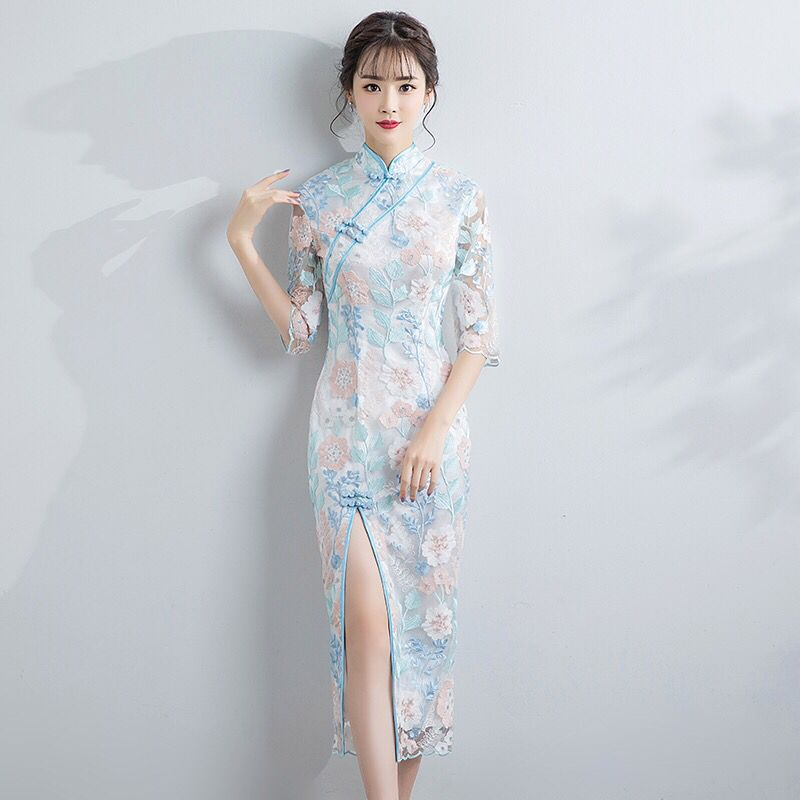 Long Tight Vintage Button Lady Cheongsam High Split Chinese Style Women Qipao Big Size 3XL Vestidso Blue Evening Party Dress