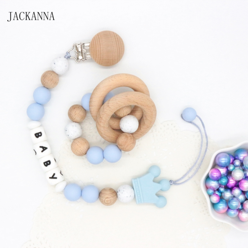 Personalise Name Baby Pacifier Clips Set Teething Silicone Bracelet Toy Newborn Attache Sucette DIY Baby Pacifier Holder Chain