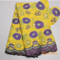 Alice C531 Factory Offer High Quality Latest African Cotton Lace Fabric With Stones African Swiss