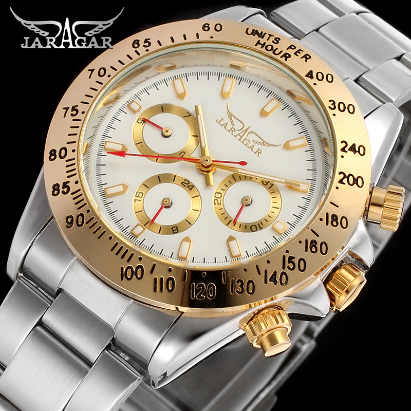 JARAGAR Brand Luxury Automatic Mechanical Tourbillon Stainless Steel  Band Men WristWatch Men's Watches Gift Box Relogio Releges jaragar men luxury watch stainless steel tourbillion automatic mechanical wristwatch relogio releges