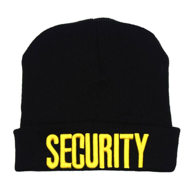 a87b851d1 LIBERWOOD Black SECURITY beanie Skull Watch Cap Security Doorman Cops Guard  Club Bouncer Men Winter Knitted beanie hat cap