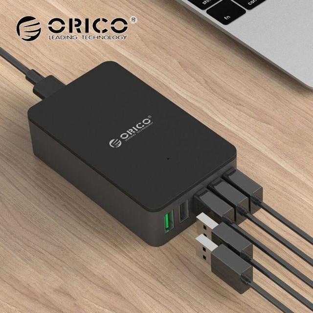 5 Порт Быстрое Зарядное Устройство, ORICO QSE-5U QC2.0 Зарядное 5V2. 4A/9V2A/12V1. 5A Настольный USB зарядное устройство для Почти Смартфонов ЕС/США Plug Черный