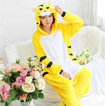 GKWMZG Flannel Adult Cartoon Animal pajama Yellow tiger Kigurumi Lovely Robe Bathrobe Cosplay Lovers Costume Anime.