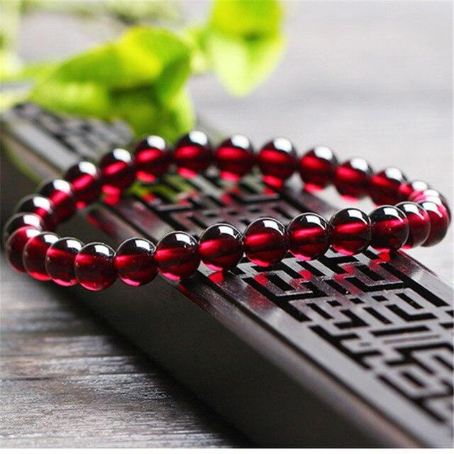Wholesale 6mm Genuine Natural Wine Red Garnet Quartz Crystal Bracelets Women Femme Charm Stretch Transparent Round Bead Bracelet