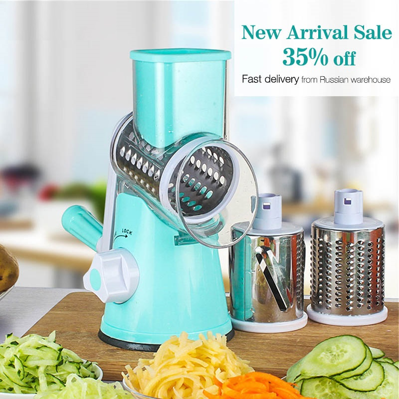 Seluna New Carrot Grater Onion Slicer Machine Kitchen Round Mandoline Vegetable Cutter with 3 Stainless Steel Blade Kitchen Tool