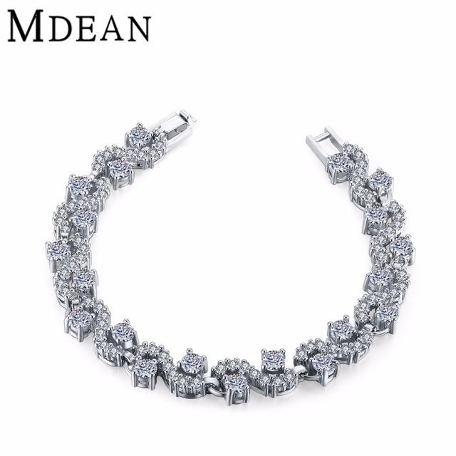 MDEAN Mujeres pulsera de oro blanco plateado Perlas de la cadena de Accesorios de joyería de moda Pulseras y Brazaletes cadena Superposición Densa MSB009