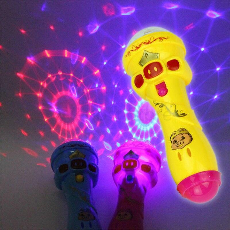 Novelty & Gag Toys 1pcs Sky Stars Projection Bal Led Flashing Karaoke Singing Microphone Pig Toyl Light Kids Magic Stick For Children Funny Gift