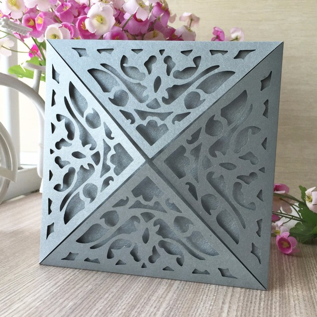 50pcs silver colorwedding invitations card decoration place birthday 50pcs silver colorwedding invitations card decoration place birthday party invite greeting card event supplier thanksgiving card m4hsunfo