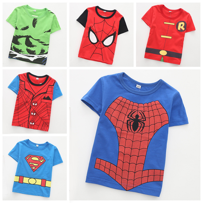 Baby Boy Tops Summer Boys Short Sleeve T-shirts Funny Cute Cartoon Spiderman Superman Captain Cotton Collar Kids Boys Sweatshirt