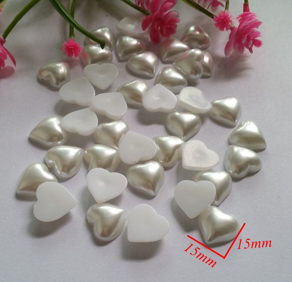 40pcs/lot 15*15mm Heart-shaped resin no Holes buttons for baby clothing pad sewing decorative Flatback bead