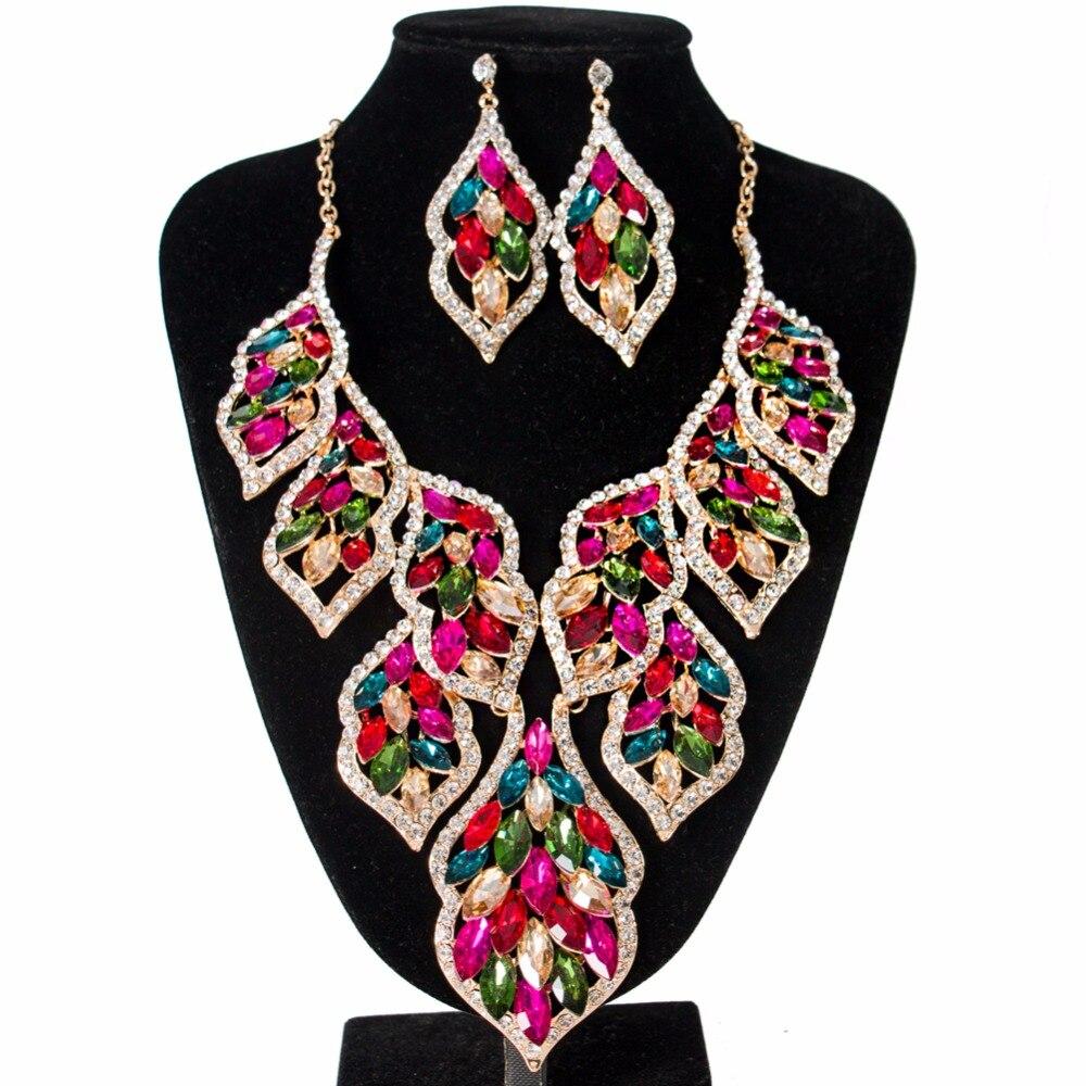 Lan palace nouveau 2018 grandes feuilles verre perles africaines ensemble de bijoux de mariée couleur or collier et boucles d'oreilles pour wo'men livraison gratuite