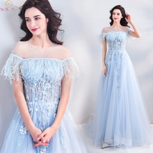 Ligh Blue Prom Dresses 2019 Summer Sheer O Neck Robe De Soiree Elegant Short Sleeve Appliques Illusion Formal Evening Party Gown