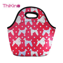 Thikin Lovely Poodle Lunch Bag For Women Cute Dog Printing Thermal Lunchbox Travel Lancheira Kid Girl Cooler Food lunchbag
