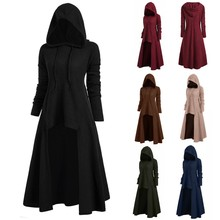 2019 Womens Autumn Winter Fashion Long Sleeve Hooded Sweater Plus Size Vintage Cloak High Low Sweater Blouse Tops цены онлайн