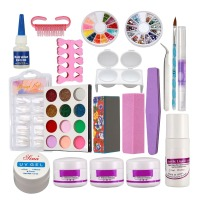 Anmas Rucci New Acrylic Powder Liquid French Nail Art Brush Glue UV Tips Tools Kits Set #189