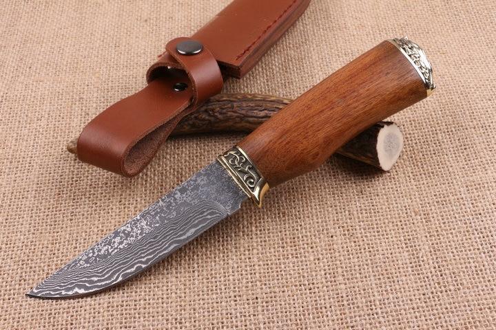 Fine Hunting Damascus Fixed Blade font b Knife b font Brass Wood Handle font b Tactical
