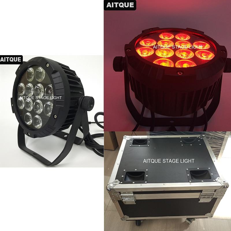 (8lot/CASE)Wedding 12x10w par led rgbw led flat par ip 65 10watt waterproof outdoor led par light ip65 flycase
