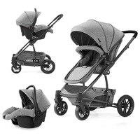Роскошная детская коляска 3 в 1 с высоким обзором четыре колеса переносная Беговая детская коляска для новорожденных детская коляска Удобна