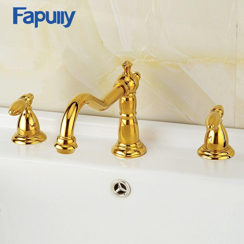 Fapully Deck Montado Dupla Alça Bacia Torneira Pia Do Banheiro Torneiras de Ouro Placa 3 Furo de Água Quente E Fria Mixer Água Da Torneira 558-44G