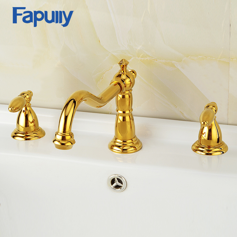 Fapully Deck Mounted Double Handle Bathroom Basin Faucet Taps Golden Plate 3 Hole Hot And Cold Water Mixer Water TapFapully Deck Mounted Double Handle Bathroom Basin Faucet Taps Golden Plate 3 Hole Hot And Cold Water Mixer Water Tap