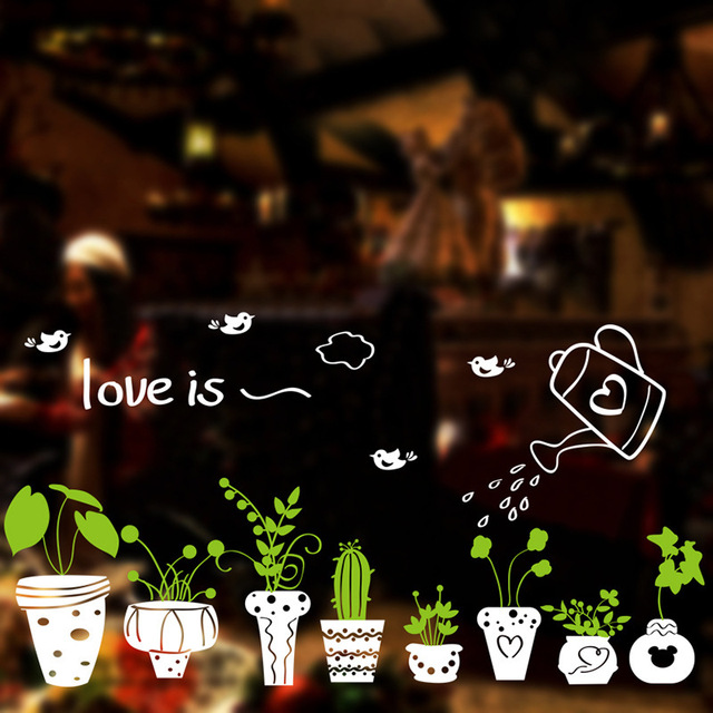 Love Is Pick Basin Green Plant Fly Birds Cactus White Window Stickers For Shop Cafe Decor