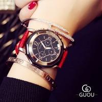 Top Brand GUOU Montre Femme Three eyes Design Retro Women's Watch Leather Water Resistant Life Watch Women Relogio Feminino