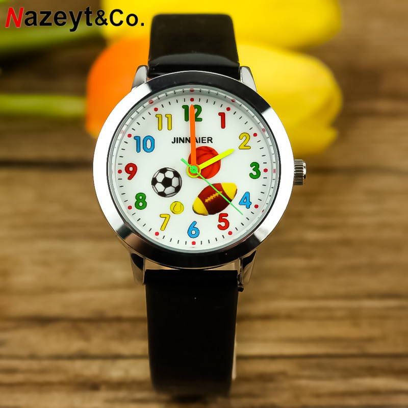 Free Shipping NAZEYT Cute Kids Leather Wristwatch Basketball Football Rugby Dial Little Boys Girls Kids Sports Watch Gift Clock