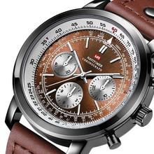 2019 New Fashion Pilot Watch Men Sport Quartz Watches Genuine Leather Waterproof Military Wrist Male Clock