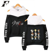 2019 Korean Off Shoulder Stray  kids  KPOP Kids Album Women Hoodies Sweatshirts cotton Long Sleeve Sexy clothes