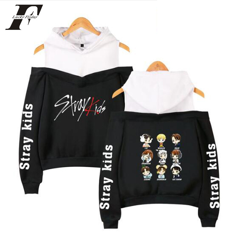 2019 Korean Off Shoulder Stray  Kids  KPOP Kids Album Women Hoodies Sweatshirts Cotton Long Sleeve Sexy Clothes