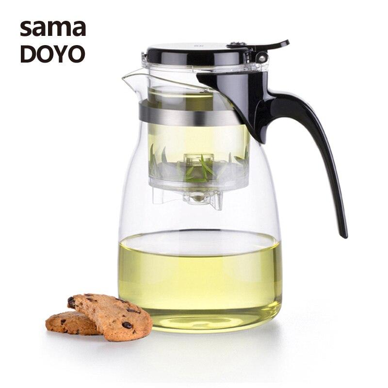 Samadoyo di Alta Qualità Gongfu Insieme di Tè di Vetro Kung Fu Teiera Presse AUTO-OPEN Art Tazza di tè con Infusore A-14 900 ml Casa Elegante Tazze