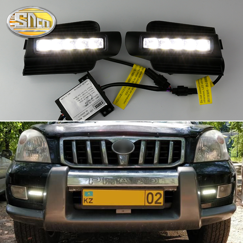E4 Mark LED DRL For Toyota Land Cruiser Prado 120 GRJ120 TRJ120 FJ120 2003~2009 Daytime Running Light Fog Lamp accessories