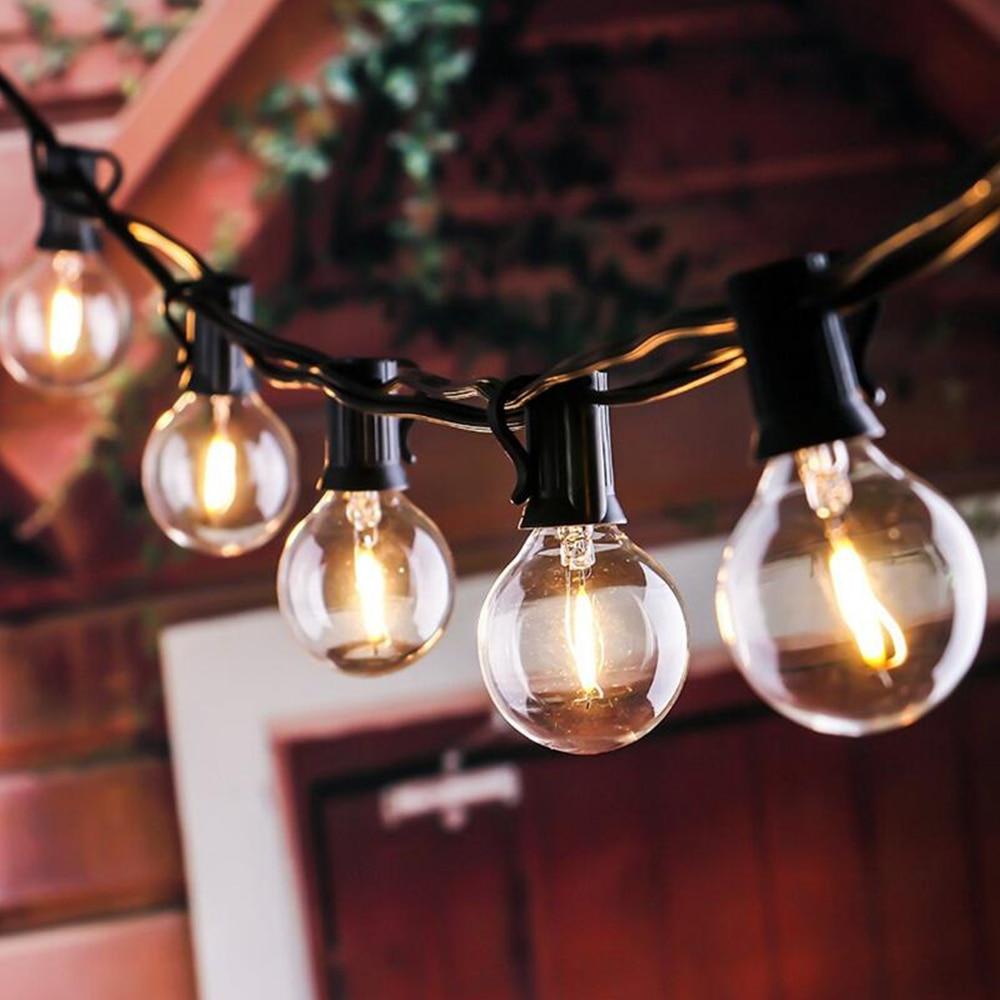 25ft luz da corda de fadas g40 globo festa natal luz da corda, branco quente 25 clara vintage lâmpadas 25ft, decorativo quintal ao ar livre