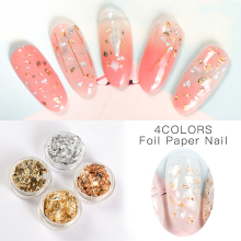 MEET ACROSS Gold Silver Irregular Nail Foil Nail Art Sticker 3D Glitter DIY Manicure UV Gel Polish Nail Decoration Tools 10g bag diy marquise acrylic gold sliver 3d nail art decorations charms glitter nail decoration tools sticker tips