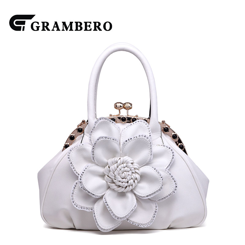 Korean Style Fashion Soft PU Leather Handbag Relief Big Flower Zipper Banquet Top-handle Bag Women Shoulder Bags For Gifts fashion relief rose flower pattern handbag pu leather genuine leather zipper ring top handle bag lady party shoulder bags gifts