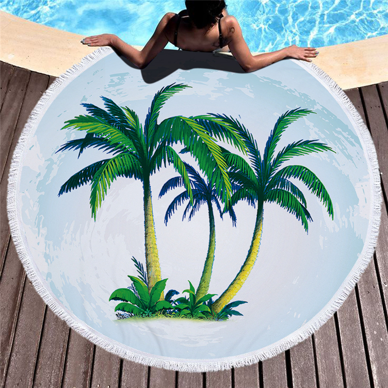 CASEGRACE Soft Round Beach Towel Microfiber Fabric Coconut