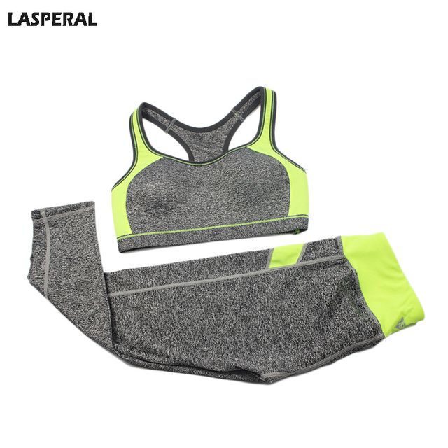 Women Fitness Suit Workout Clothes Women Set Wirefree Patchwork Padded Bra Crop Top + Elastic Legging Capris For Women